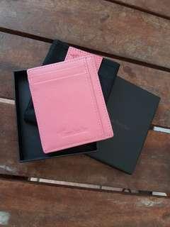 Travelambo RFID Front Pocket Minimalist Slim Wallet Genuine Leather, Pink Crosshatch