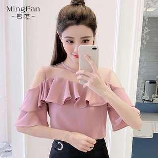 🚚 Off-shoulder mesh blouse