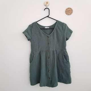 Olive Cheesecloth Dress, Size 8