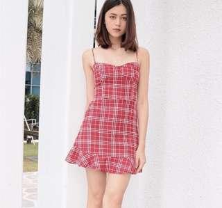 🚚 Plaid Checkered Bustier Self Tie Straps Cami Dress