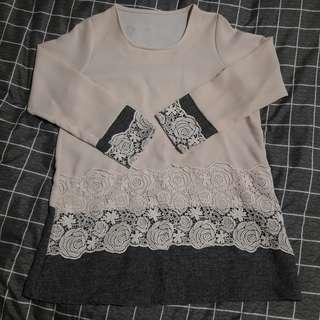 🚚 玫瑰蕾絲寬版長袖洋裝
