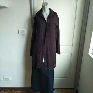 🚚 【onsale】專櫃epabis深咖啡色喇叭袖長版針織罩衫外套-36號