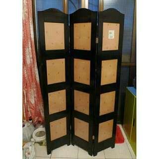 特力屋12格3片式杉木相框屏風