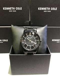 Kenneth Cole 黑鋼透明石英錶