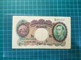 Barbados $1 1949 Rare date