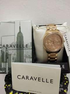 Caravelle Women's Swarovski Crystal Rose Gold Tone Watch