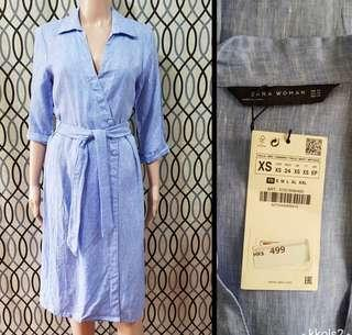 Zara Belted Linen Dress
