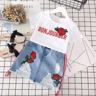 Girl Fashion Tshirt Denim Skirt Set