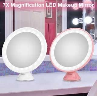 Ovonni 7x LED Makeup Mirror 360 Rotation Cosmetic Mirror - Pink