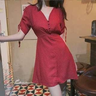 [D425] Pokka Dots Ribbon Sleeves V Neck Dress