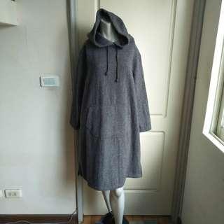🚚 【onsale】日本購入灰色棉質粗呢針織長袖連帽連身裙-男女皆可