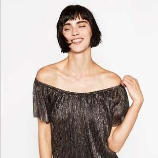 Zara Gold Off Shoulder Top