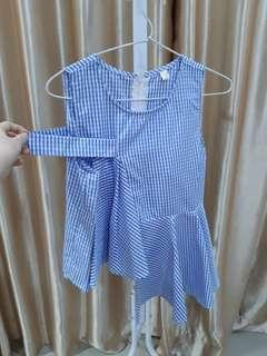 Checkered blue and white top