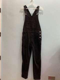 Topshop Black Denim Jumpsuit