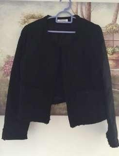 Black Tweed Blazer Jacket
