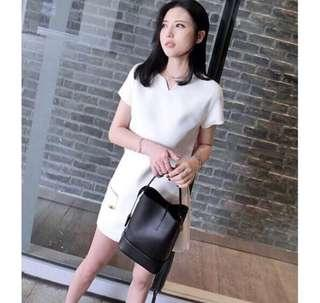 White short sleeve blouse top shorts two piece short dress office wear