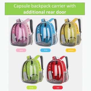 Capsule backpack carrier transparent clear design, not scratch post cage condo tree scratch