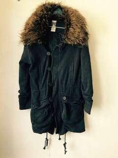 Zara TRF Navy cotton top coat jacket 毛毛藍色棉質外套褸,毛毛領可拆除
