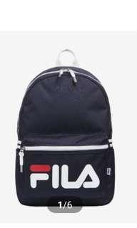 🚚 Quick preorder! Authentic fila korea Court logo backpack signature navy blue bag pack bagpack