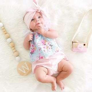 Newborn Baby Girl Floral Tops Short Pant