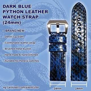 Dark Blue Python Leather EXOTIC Strap 24mm