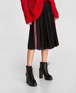🚚 Zara 側邊飾條裝飾百摺裙 百褶裙 中長裙 (M)~原價1290元