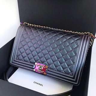 e8ec7d52e4cc Chanel Mermaid Iridescent Boy New Medium 28cm Rainbow HW #21