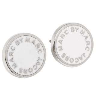 💚現貨💚  Marc by Marc Jacobs Enamel Logo Disco Stud Earrings 白銀 耳環