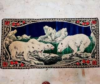 Vintage Little Carpet made in Italy, Polar Bears motif. 42%Rayon & 58% Cotton. Unused, Good Condition. $15 offer, WhatsApp 96337309.
