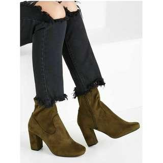 NEW Rubi Shoes, Cotton On, Brighton Sock Boots, Khaki Micro Faux Suede, Size 38