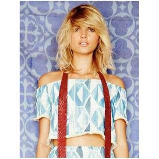 NEW Stevie May Moroccan Wave Crop Top, Blue, Size S, Beach Boho Style