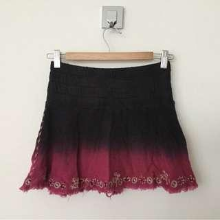 Tigerlily Mini Skirt Tie Dye Ombre Black Pink, Embroidered, Elasticated Size S