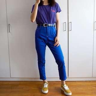 🚚 High Rise Mom Jeans (Royal Blue)