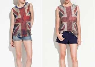 Zara Semi sheer Union jack Sleeveless shirt