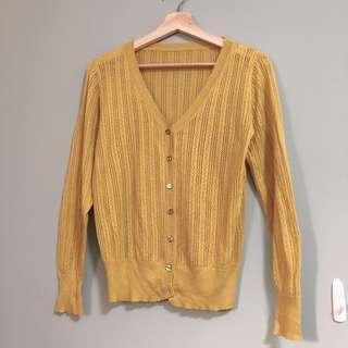 薑黃薄款針織外套