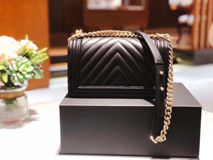 Authentic Pre-loved Chanel Chevron Leboy in Champagne Gold Hardware (Medium)