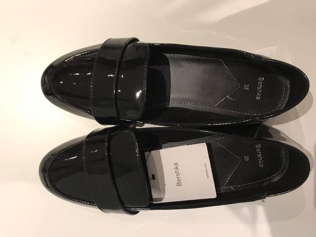 Bershka patent slip on loafers in black