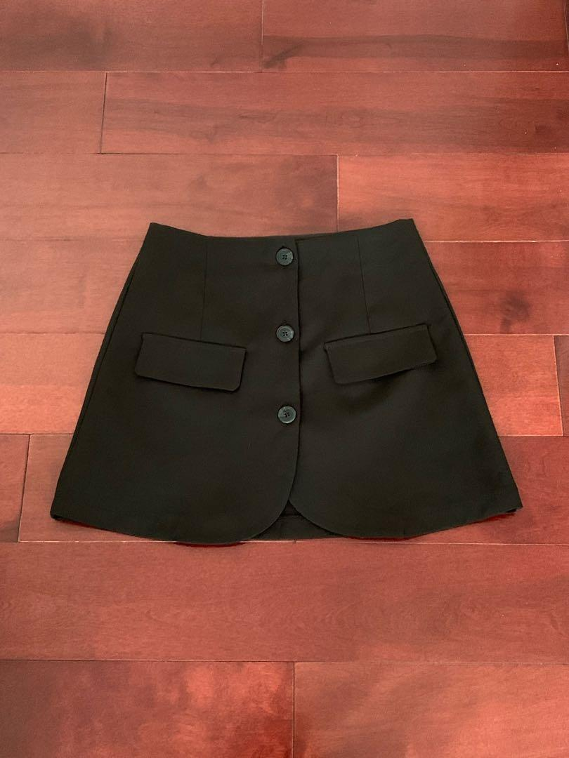 Black Button-Down Skirt