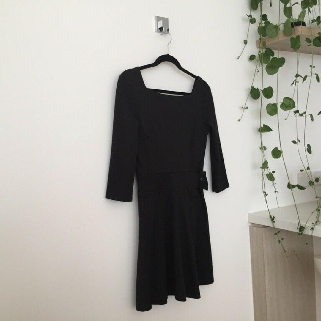 BNWT ASOS Black Belted Square Neck Dress, Low Back, Size 10