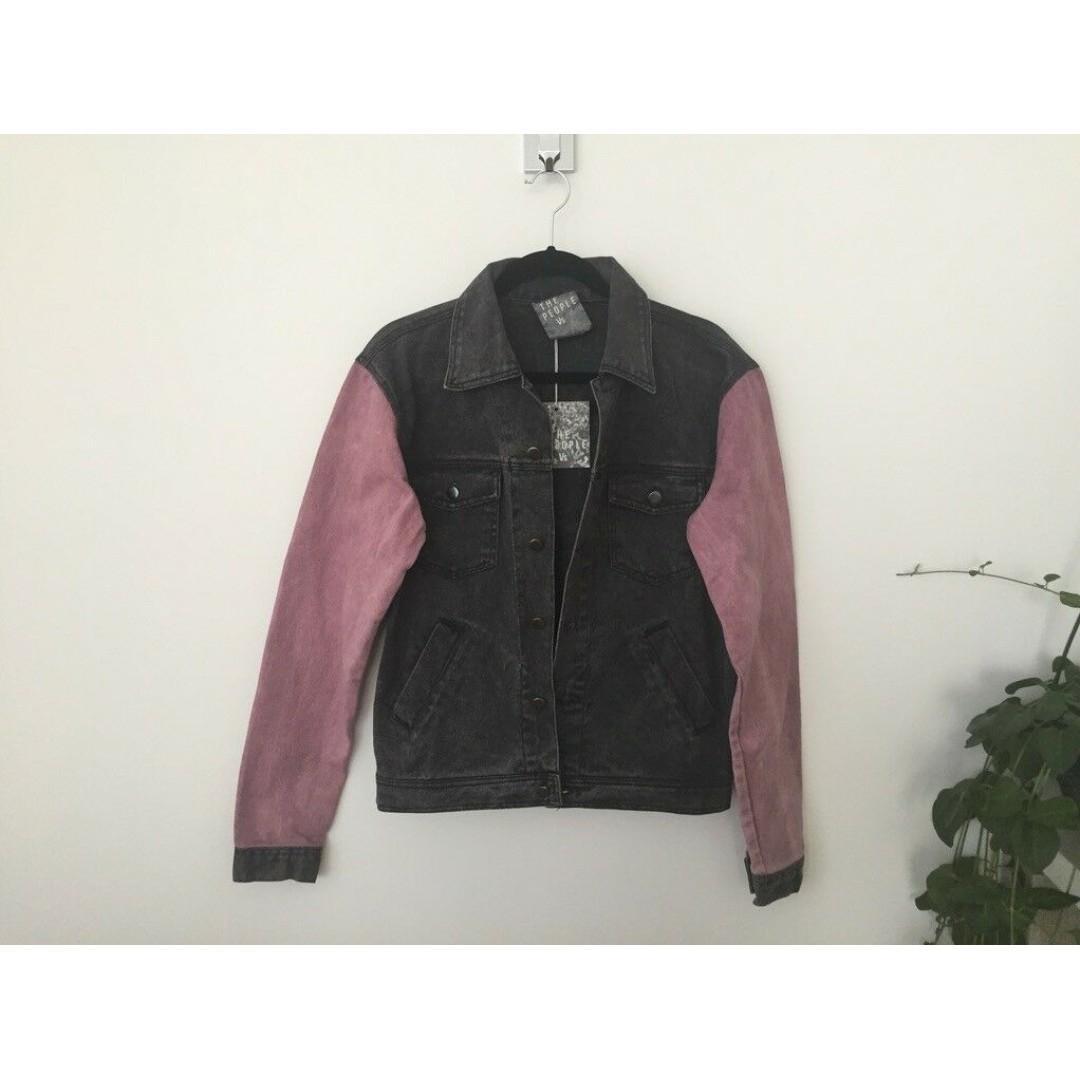 BNWT The People VS. Denim Jacket, Size S, Acid Wash Charcoal Black Pink
