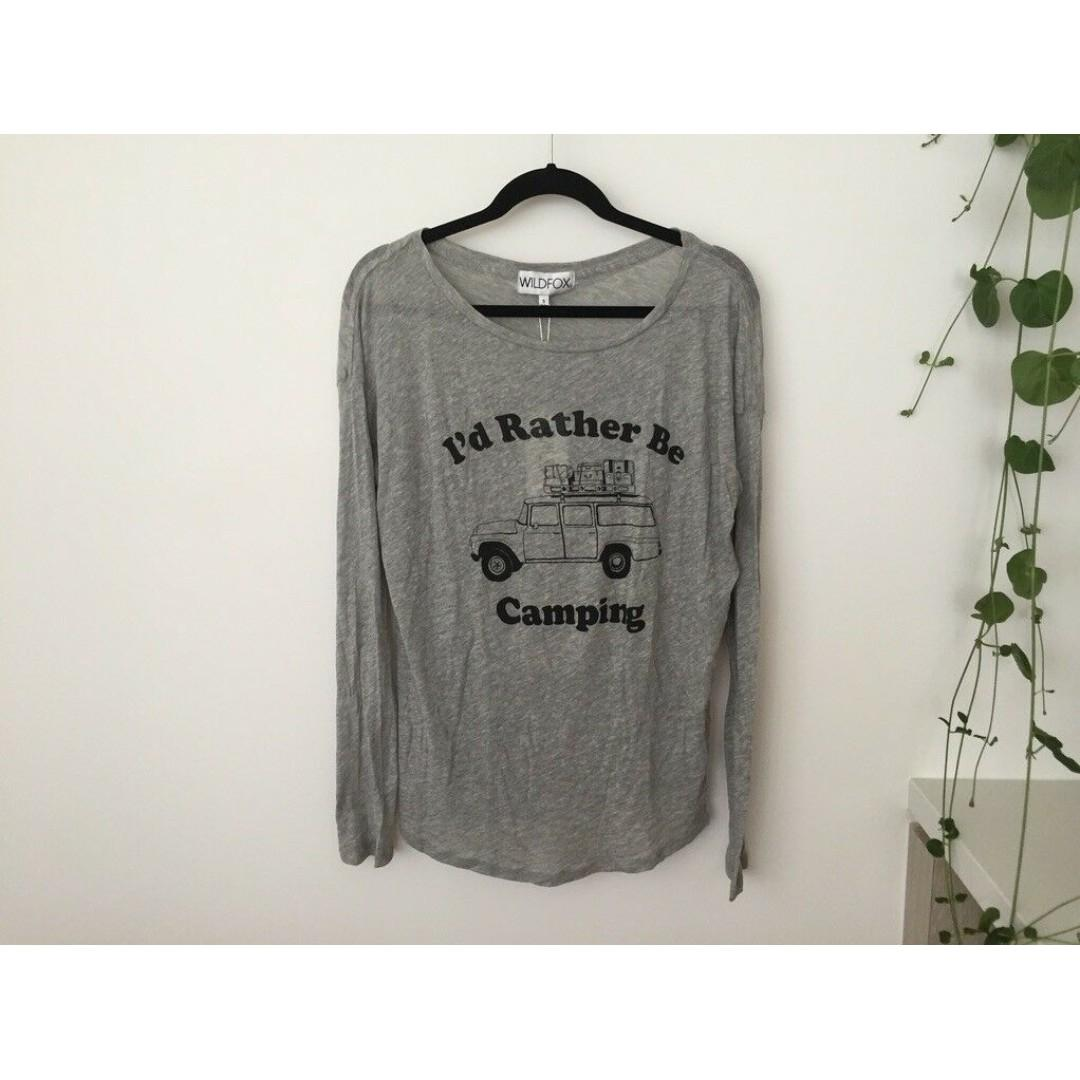 BNWT WILDFOX I'd Rather Be Camping Grey Long Sleeve Tee Top, Size S