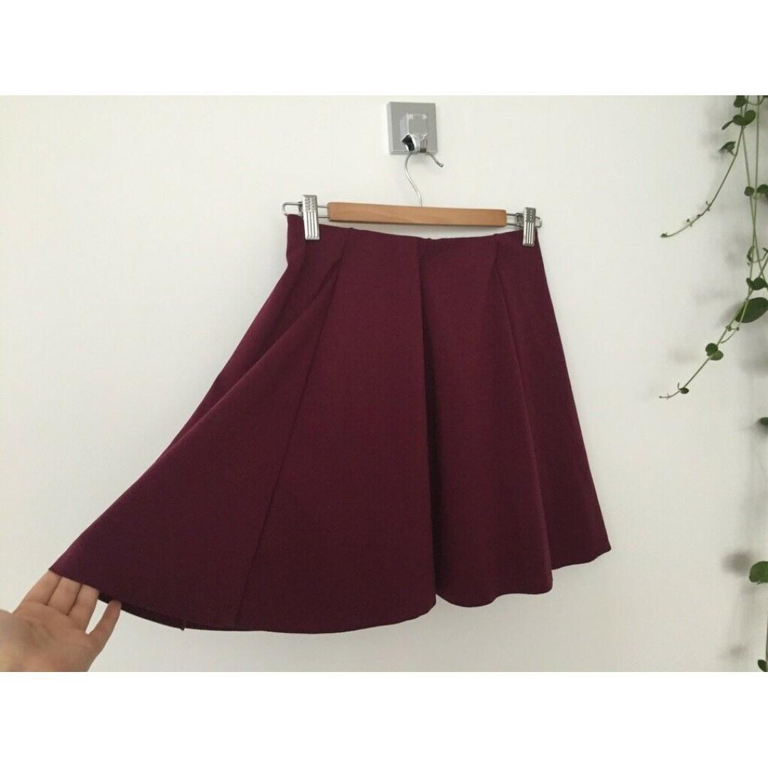 BNWT ZARA Berry Maroon Elasticated Pleated Circle Skirt, A Line, Size L