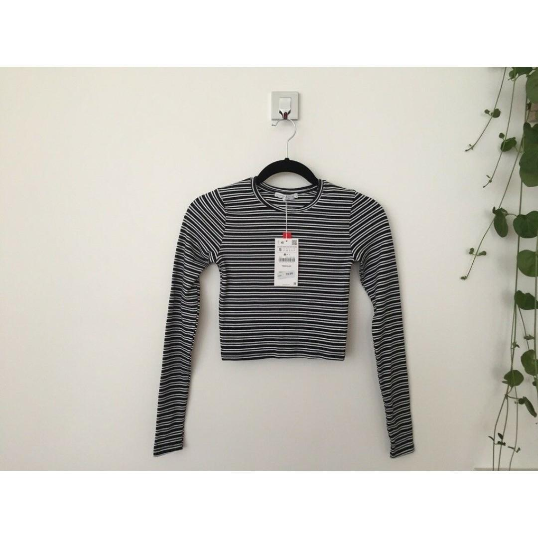 BNWT Zara Ribbed Striped Long-Sleeve Cropped Tee Top, Size S