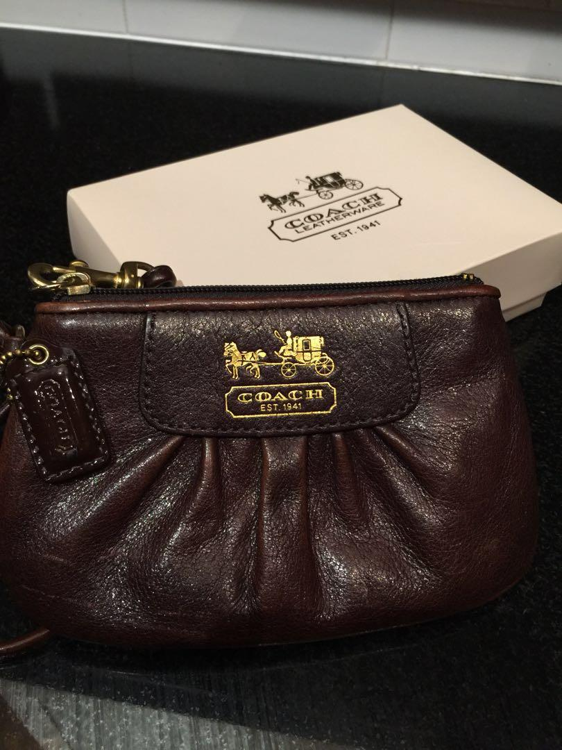 Coach brown leather wristlet