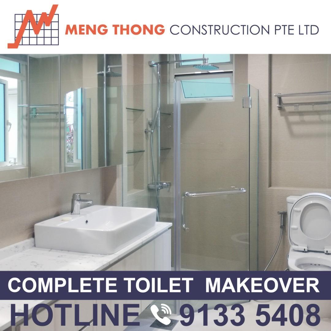 Complete toilet makeover renovation hacking tiling