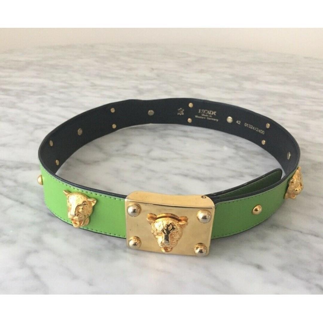 Escada Vintage Green Leather Belt, Gold Studs, Tiger Head Embellishment