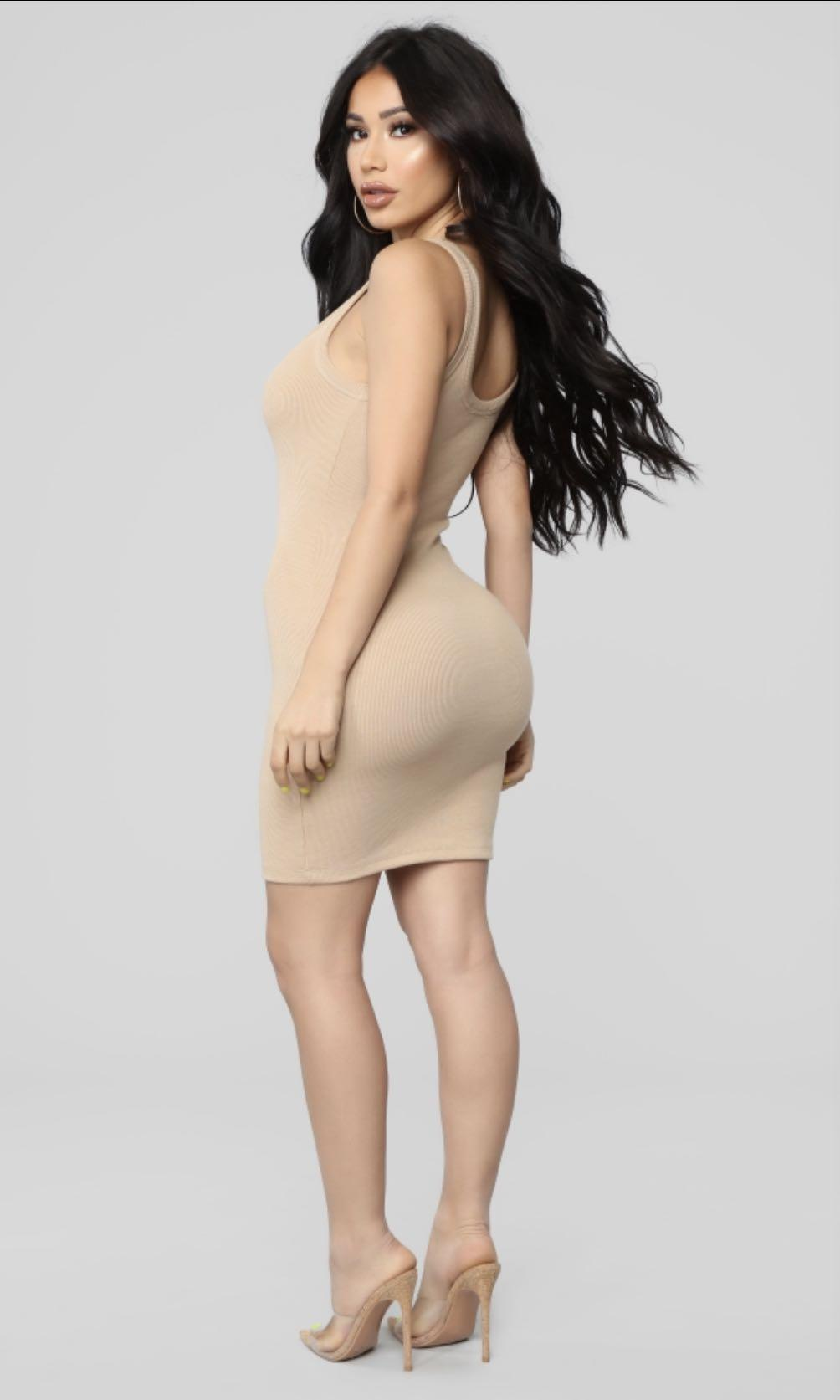 Fashion Nova Nude Bodycon Dress
