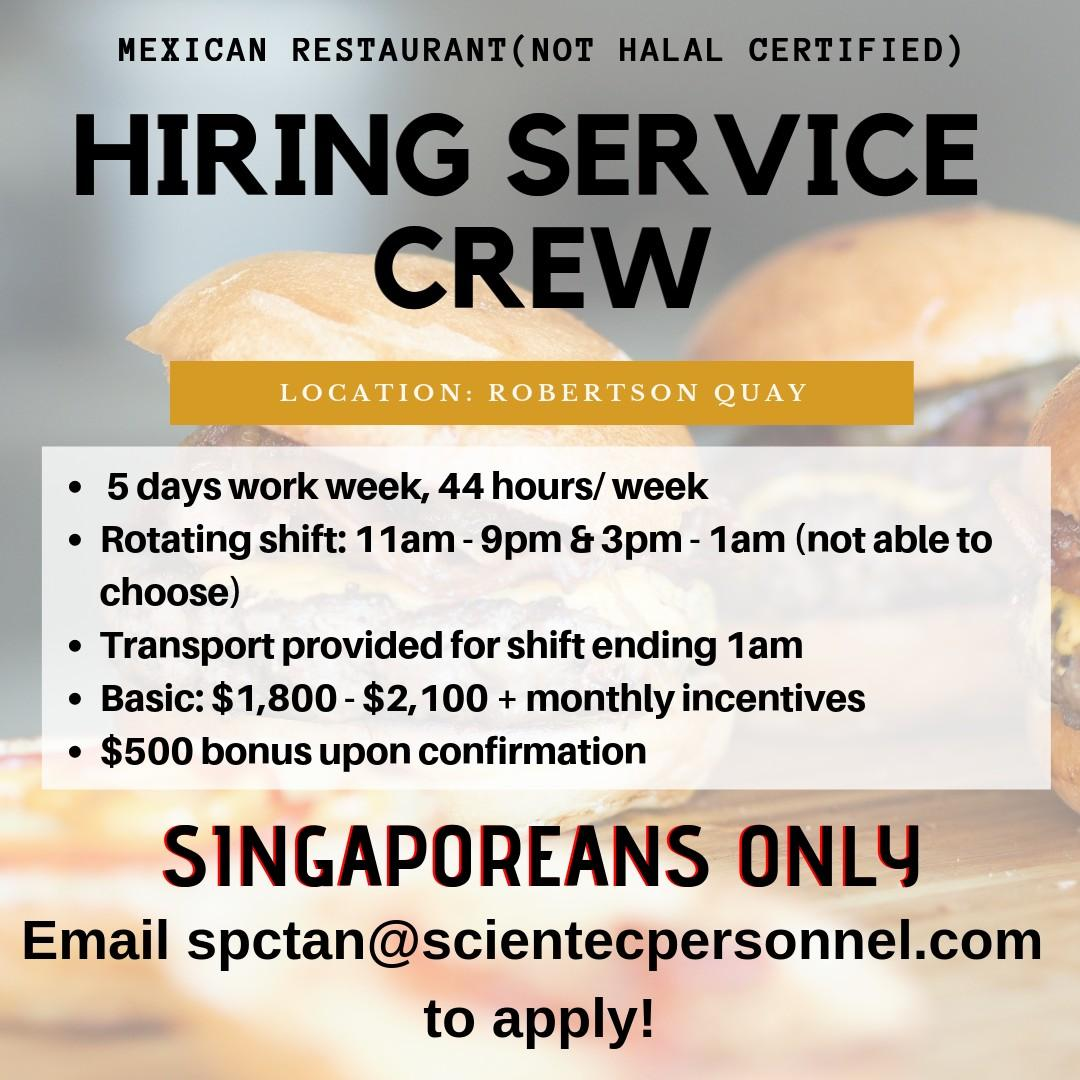 FULL TIME SERVICE CREW | ROBERTSON QUAY | SINGAPOREANS ONLY
