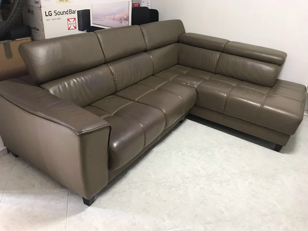 Genuine Leather L Shape Sofa Furniture Sofas On Carousell