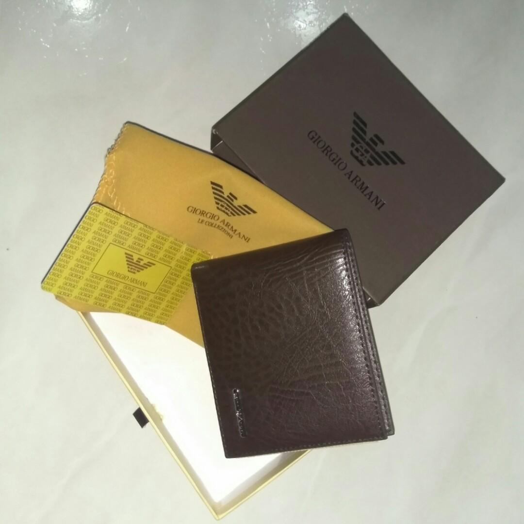 d1286d5f Only 1 piece) Giorgio Armani authentic Brown leather bifold 3-flaps ...